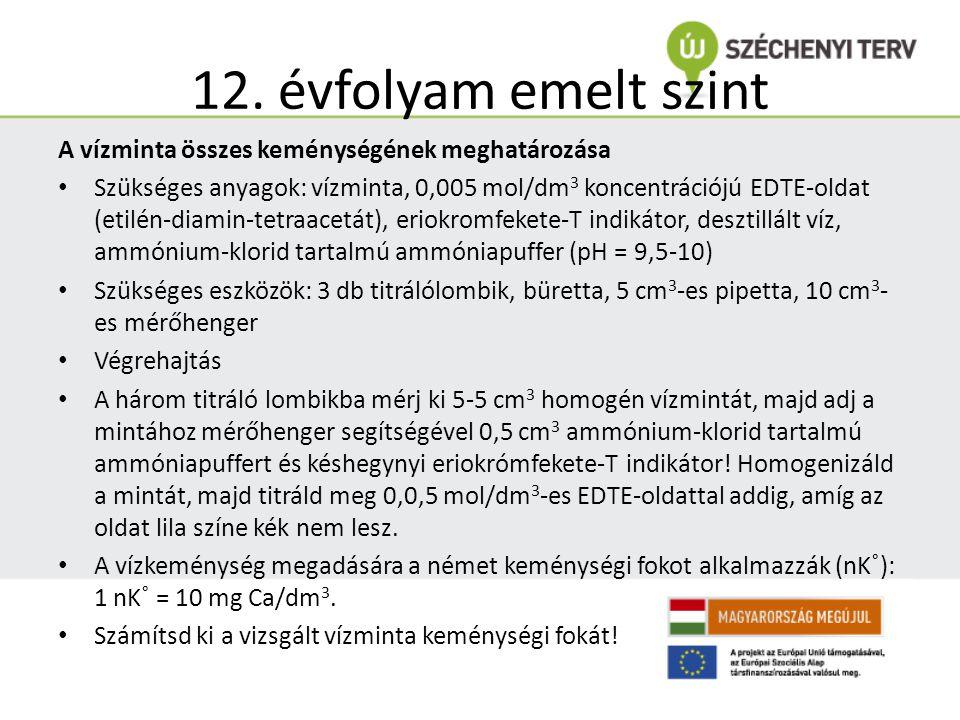 12. évfolyam emelt szint A vízminta összes keménységének meghatározása Szükséges anyagok: vízminta, 0,005 mol/dm 3 koncentrációjú EDTE-oldat (etilén-d