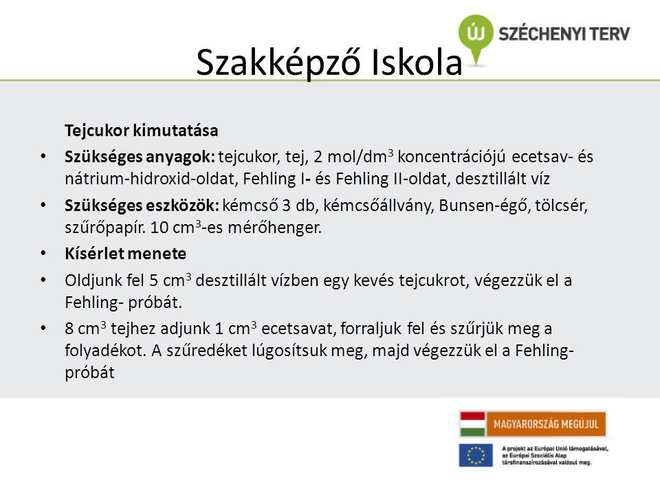 Szakképző Iskola Tejcukor kimutatása Szükséges anyagok: tejcukor, tej, 2 mol/dm 3 koncentrációjú ecetsav- és nátrium-hidroxid-oldat, Fehling I- és Feh