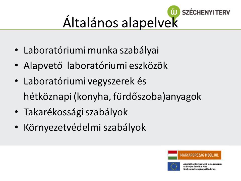 Általános alapelvek Laboratóriumi munka szabályai Alapvető laboratóriumi eszközök Laboratóriumi vegyszerek és hétköznapi (konyha, fürdőszoba)anyagok T