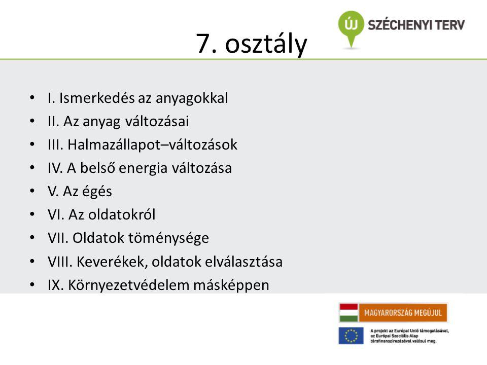 7. osztály I. Ismerkedés az anyagokkal II. Az anyag változásai III. Halmazállapot–változások IV. A belső energia változása V. Az égés VI. Az oldatokró