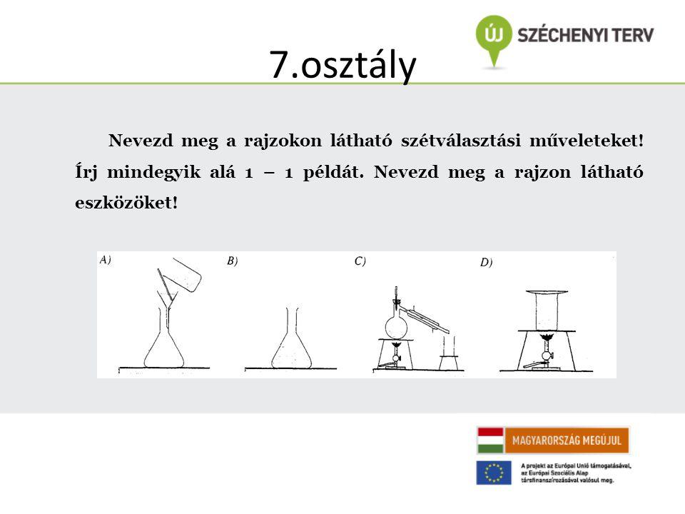 7.osztály Nevezd meg a rajzokon látható szétválasztási műveleteket! Írj mindegyik alá 1 – 1 példát. Nevezd meg a rajzon látható eszközöket!