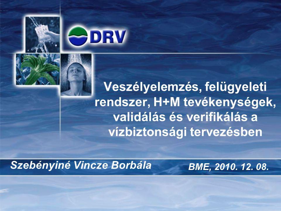 Veszélyelemzés, felügyeleti rendszer, H+M tevékenységek, validálás és verifikálás a vízbiztonsági tervezésben Szebényiné Vincze Borbála BME, 2010.