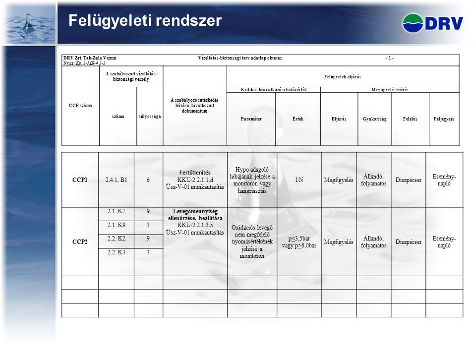 Felügyeleti rendszer DRV Zrt. Tab-Zala Vízmű Vízellátás-biztonsági terv adatlap oktatás - 1 - Nysz: Kp. 3-MB-4 1-3 CCP száma A szabályozott vízellátás
