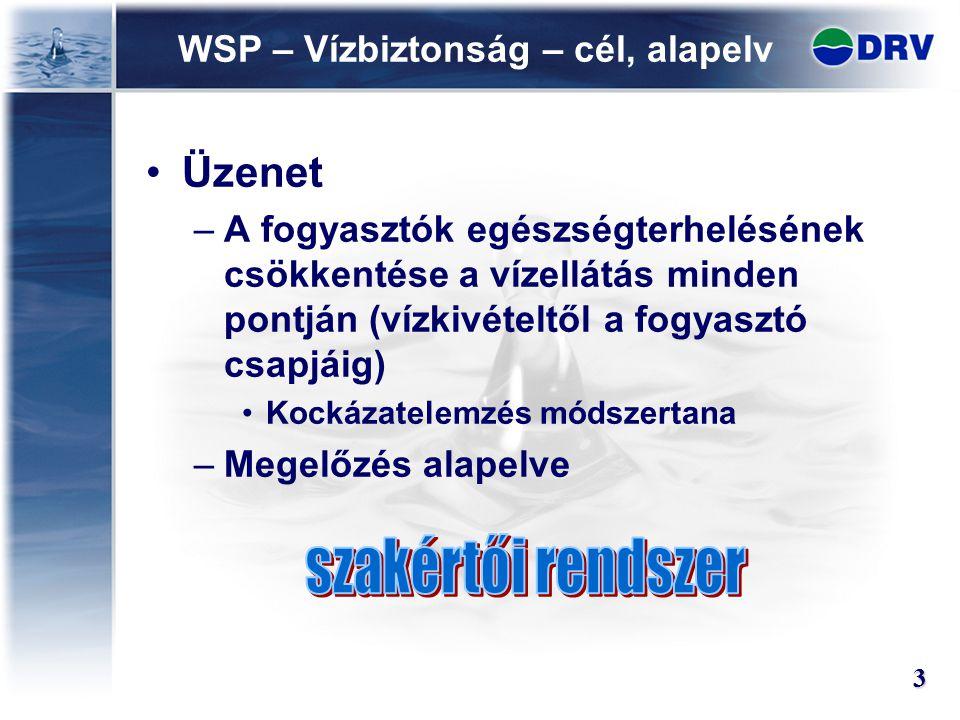WSP – Vízbiztonság – cél, alapelv Üzenet –A fogyasztók egészségterhelésének csökkentése a vízellátás minden pontján (vízkivételtől a fogyasztó csapjáig) Kockázatelemzés módszertana –Megelőzés alapelve 3