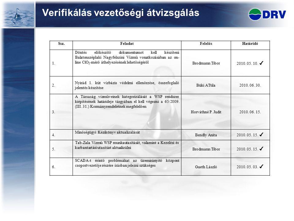 Verifikálás vezetőségi átvizsgálás Ssz.FeladatFelelősHatáridő 1. Döntés előkészítő dokumentumot kell készíteni Balatonszéplaki Nagyfelszíni Vízmű vona