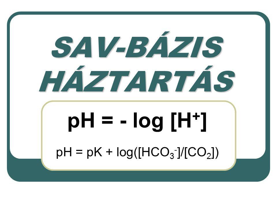 SAV-BÁZIS HÁZTARTÁS pH = - log [H + ] pH = pK + log([HCO 3 - ]/[CO 2 ])