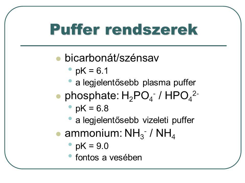Vese:[H + ][HCO 3 - ] = állandó Tüdő: [H 2 CO 3 ] A vese és a tüdő szerepe