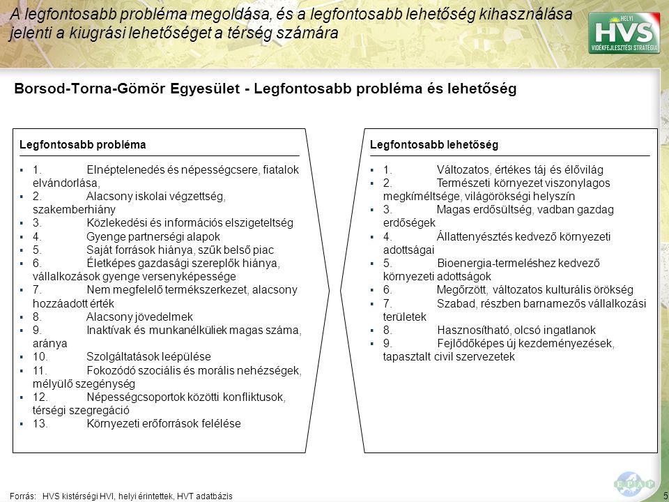 5 Borsod-Torna-Gömör Egyesület - Legfontosabb probléma és lehetőség A legfontosabb probléma megoldása, és a legfontosabb lehetőség kihasználása jelenti a kiugrási lehetőséget a térség számára Forrás:HVS kistérségi HVI, helyi érintettek, HVT adatbázis Legfontosabb problémaLegfontosabb lehetőség ▪1.Elnéptelenedés és népességcsere, fiatalok elvándorlása, ▪2.Alacsony iskolai végzettség, szakemberhiány ▪3.Közlekedési és információs elszigeteltség ▪4.Gyenge partnerségi alapok ▪5.Saját források hiánya, szűk belső piac ▪6.Életképes gazdasági szereplők hiánya, vállalkozások gyenge versenyképessége ▪7.Nem megfelelő termékszerkezet, alacsony hozzáadott érték ▪8.Alacsony jövedelmek ▪9.Inaktívak és munkanélküliek magas száma, aránya ▪10.Szolgáltatások leépülése ▪11.Fokozódó szociális és morális nehézségek, mélyülő szegénység ▪12.Népességcsoportok közötti konfliktusok, térségi szegregáció ▪13.Környezeti erőforrások felélése ▪1.Változatos, értékes táj és élővilág ▪2.Természeti környezet viszonylagos megkíméltsége, világörökségi helyszín ▪3.Magas erdősültség, vadban gazdag erdőségek ▪4.Állattenyésztés kedvező környezeti adottságai ▪5.Bioenergia-termeléshez kedvező környezeti adottságok ▪6.Megőrzött, változatos kulturális örökség ▪7.Szabad, részben barnamezős vállalkozási területek ▪8.Hasznosítható, olcsó ingatlanok ▪9.Fejlődőképes új kezdeményezések, tapasztalt civil szervezetek