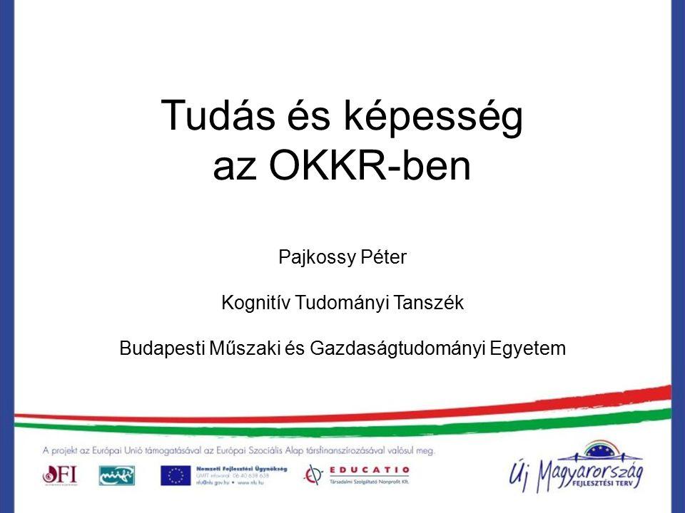 Tudás és képesség az OKKR-ben Pajkossy Péter Kognitív Tudományi Tanszék Budapesti Műszaki és Gazdaságtudományi Egyetem