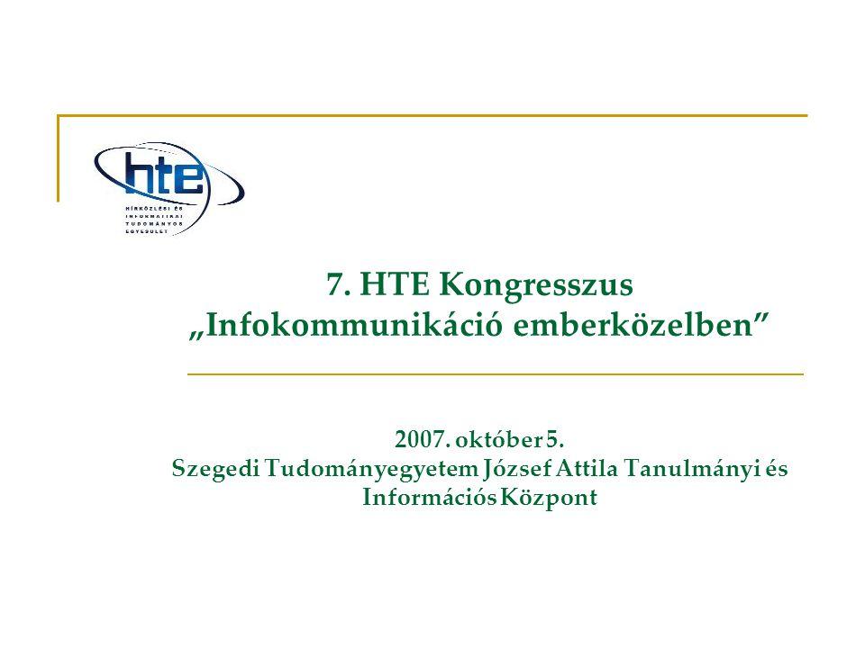 """7. HTE Kongresszus """"Infokommunikáció emberközelben"""" 2007. október 5. Szegedi Tudományegyetem József Attila Tanulmányi és Információs Központ"""