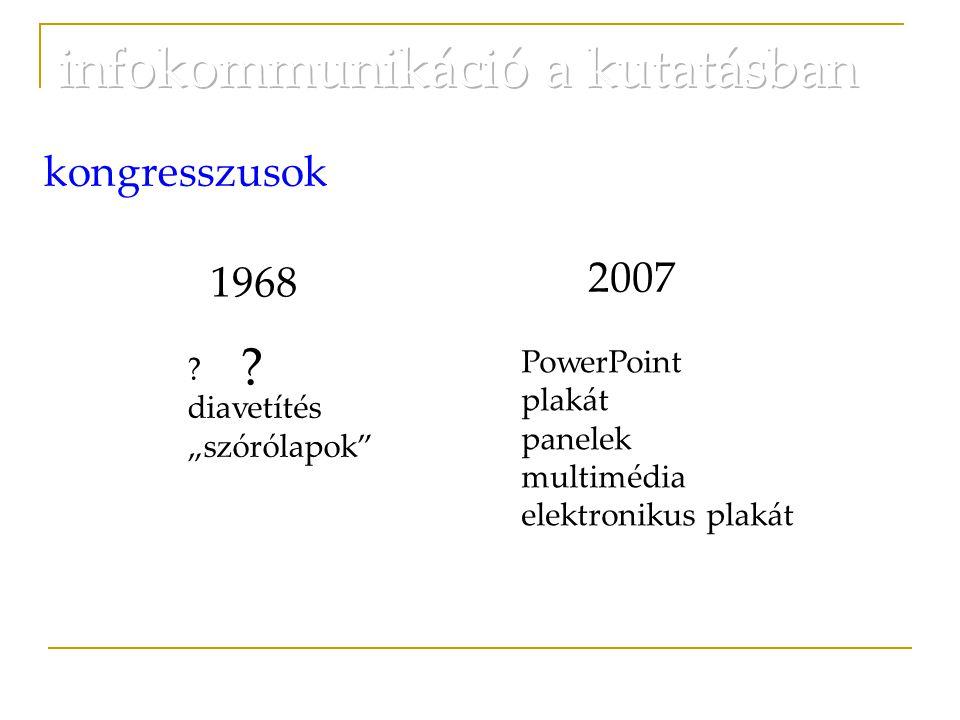 """1968 2007 kongresszusok ? diavetítés """"szórólapok"""" PowerPoint plakát panelek multimédia elektronikus plakát ?"""