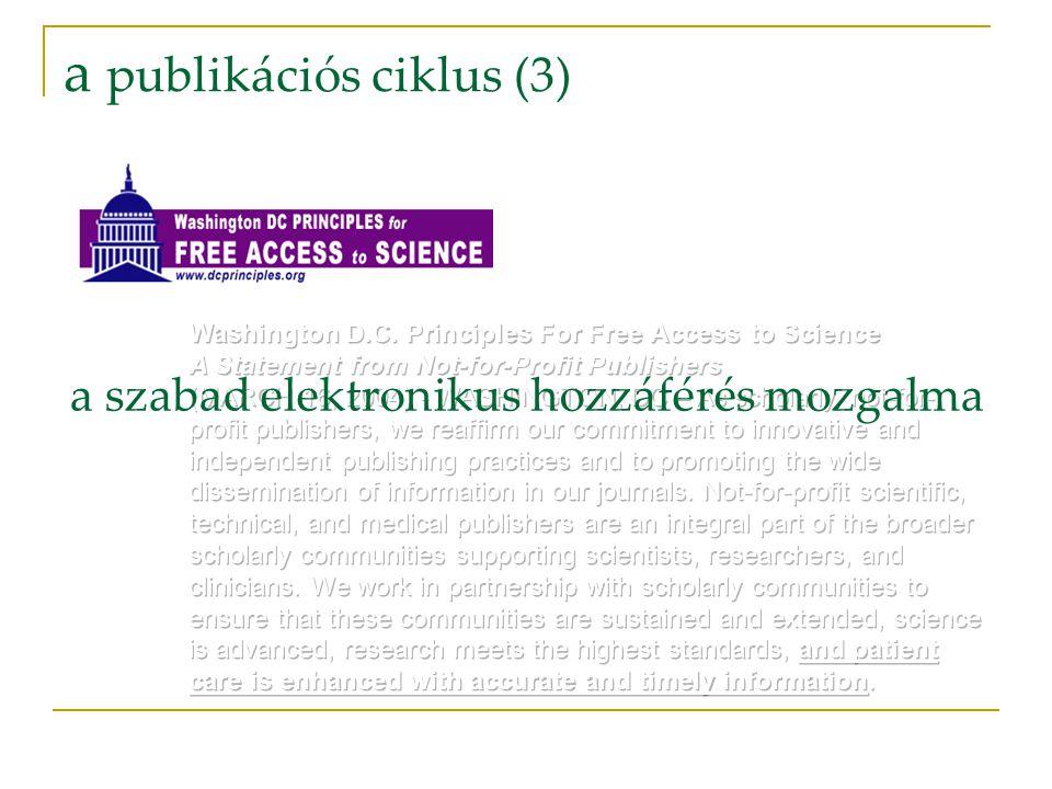 a publikációs ciklus (3) a szabad elektronikus hozzáférés mozgalma