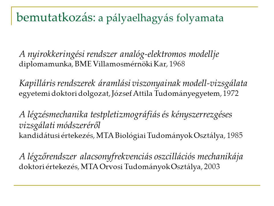A nyirokkeringési rendszer analóg-elektromos modellje diplomamunka, BME Villamosmérnöki Kar, 1968 Kapilláris rendszerek áramlási viszonyainak modell-v
