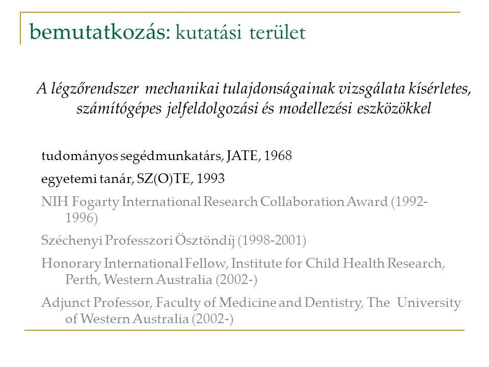 bemutatkozás: paraméterek tudományos közlemények: 95 teljes terjedelmű angol cikk összesített hatástényező (impakt faktor): 245 független hivatkozások: 1180 legtöbb hivatkozás/cikk: 142 szerkesztőbizottsági tagságok: Medicina Thoracalis (1997-), Pediatric Pulmonology (2000-), Acta Physiologica Hungarica (2002-), Current Pediatric Reviews (2004-), Journal of Applied Physiology (2005-) kutatási pályázatok: 6 OTKA, 4 NSF, 2 NIH, 5 NH&MRC, 4 SNSF témavezetés: 4+2 megvédett PhD disszertáció, 2+2 folyamatban