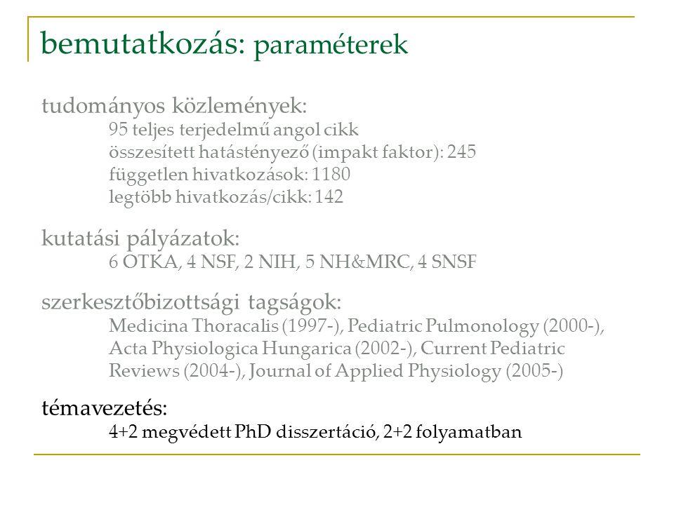 bemutatkozás: paraméterek tudományos közlemények: 95 teljes terjedelmű angol cikk összesített hatástényező (impakt faktor): 245 független hivatkozások