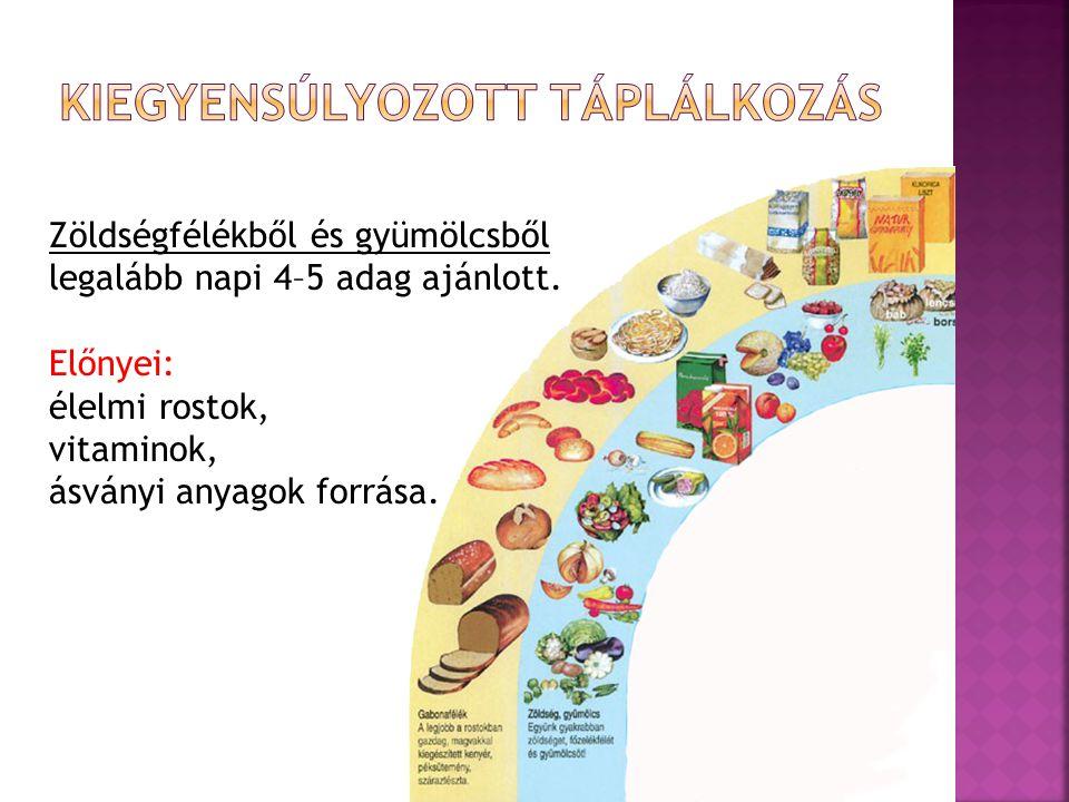 Zöldségfélékből és gyümölcsből legalább napi 4–5 adag ajánlott. Előnyei: élelmi rostok, vitaminok, ásványi anyagok forrása.