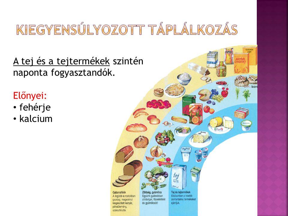 A tej és a tejtermékek szintén naponta fogyasztandók. Előnyei: fehérje kalcium