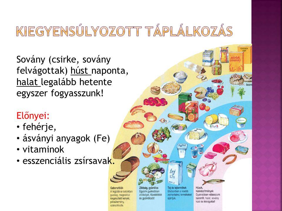 Sovány (csirke, sovány felvágottak) húst naponta, halat legalább hetente egyszer fogyasszunk! Előnyei: fehérje, ásványi anyagok (Fe) vitaminok esszenc