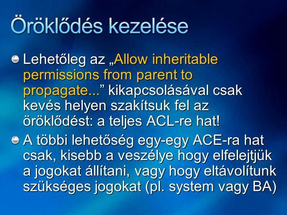 """Lehetőleg az """"Allow inheritable permissions from parent to propagate... kikapcsolásával csak kevés helyen szakítsuk fel az öröklődést: a teljes ACL-re hat."""