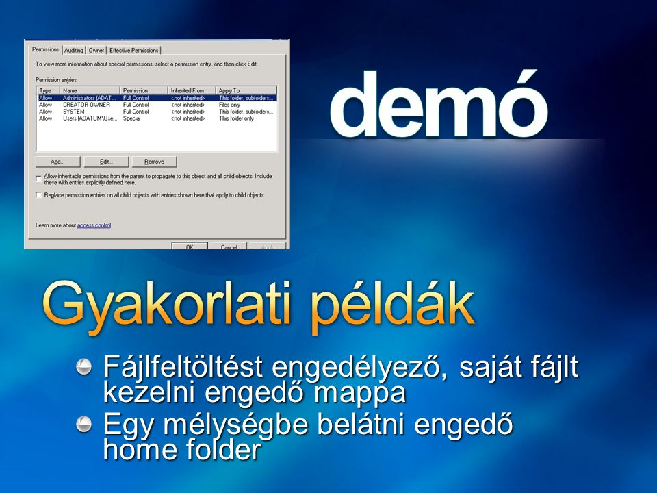 Fájlfeltöltést engedélyező, saját fájlt kezelni engedő mappa Egy mélységbe belátni engedő home folder