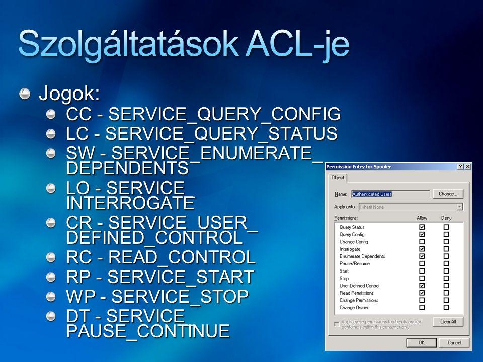 Jogok: CC - SERVICE_QUERY_CONFIG LC - SERVICE_QUERY_STATUS SW - SERVICE_ENUMERATE_ DEPENDENTS LO - SERVICE_ INTERROGATE CR - SERVICE_USER_ DEFINED_CON