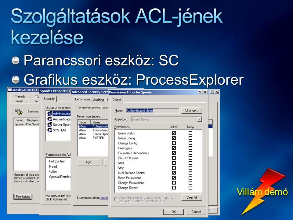 Parancssori eszköz: SC Grafikus eszköz: ProcessExplorer Villám demó