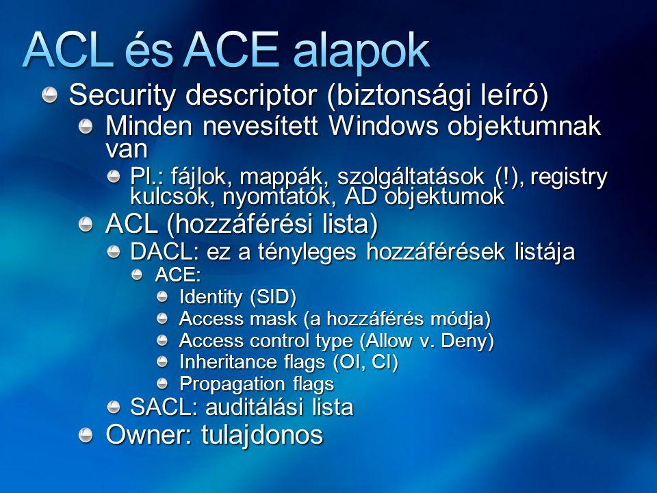 Security descriptor (biztonsági leíró) Minden nevesített Windows objektumnak van Pl.: fájlok, mappák, szolgáltatások (!), registry kulcsok, nyomtatók, AD objektumok ACL (hozzáférési lista) DACL: ez a tényleges hozzáférések listája ACE: Identity (SID) Access mask (a hozzáférés módja) Access control type (Allow v.