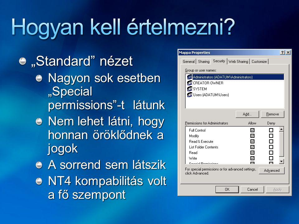 """""""Standard nézet Nagyon sok esetben """"Special permissions -t látunk Nem lehet látni, hogy honnan öröklődnek a jogok A sorrend sem látszik NT4 kompabilitás volt a fő szempont"""