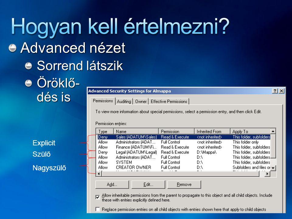 Service hardening: Szolgáltatásoknak külön SID-jük van, ezek is felvehetők ACL-be megfelelő jogokkal SC showID service_name Íráskorlátozott SID az access tokenben: csak kifejezett engedély birtokában írhat Csökkentettebb jogosultságú ServiceAccount nevében futtatás Szolgáltatások privilégiumainak csökkentése Tűzfalszabályok
