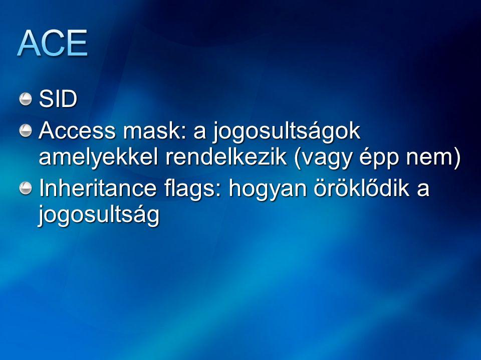 SID Access mask: a jogosultságok amelyekkel rendelkezik (vagy épp nem) Inheritance flags: hogyan öröklődik a jogosultság