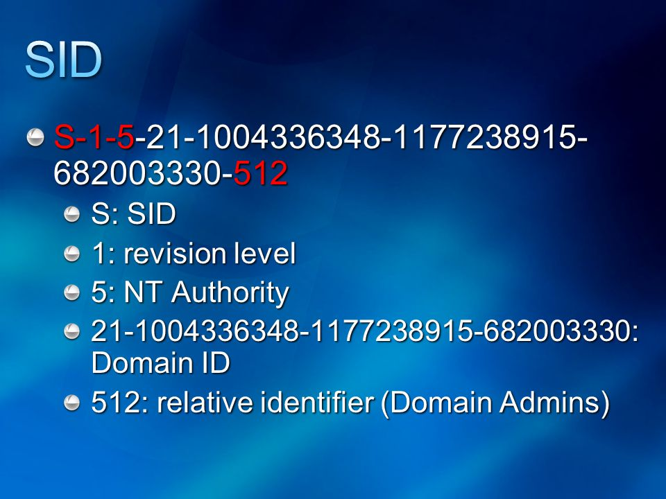 S-1-5-21-1004336348-1177238915- 682003330-512 S: SID 1: revision level 5: NT Authority 21-1004336348-1177238915-682003330: Domain ID 512: relative identifier (Domain Admins)
