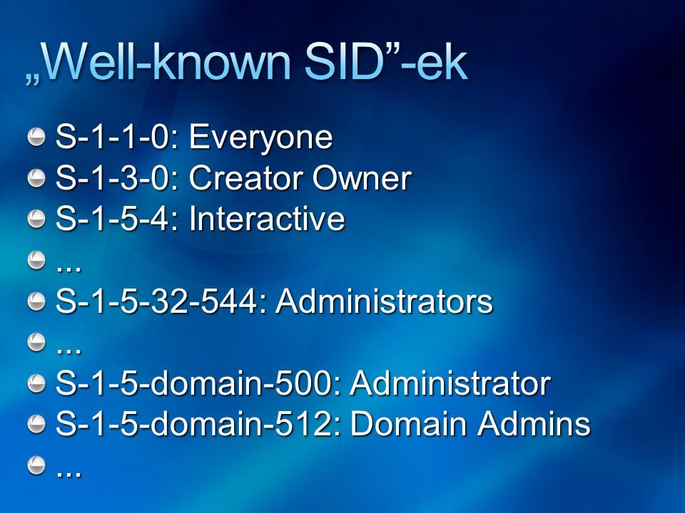 S-1-1-0: Everyone S-1-3-0: Creator Owner S-1-5-4: Interactive... S-1-5-32-544: Administrators... S-1-5-domain-500: Administrator S-1-5-domain-512: Dom