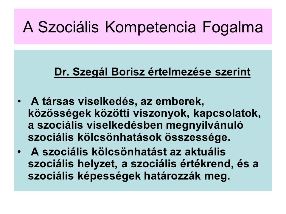 A Szociális Kompetencia Fogalma Dr. Szegál Borisz értelmezése szerint A társas viselkedés, az emberek, közösségek közötti viszonyok, kapcsolatok, a sz