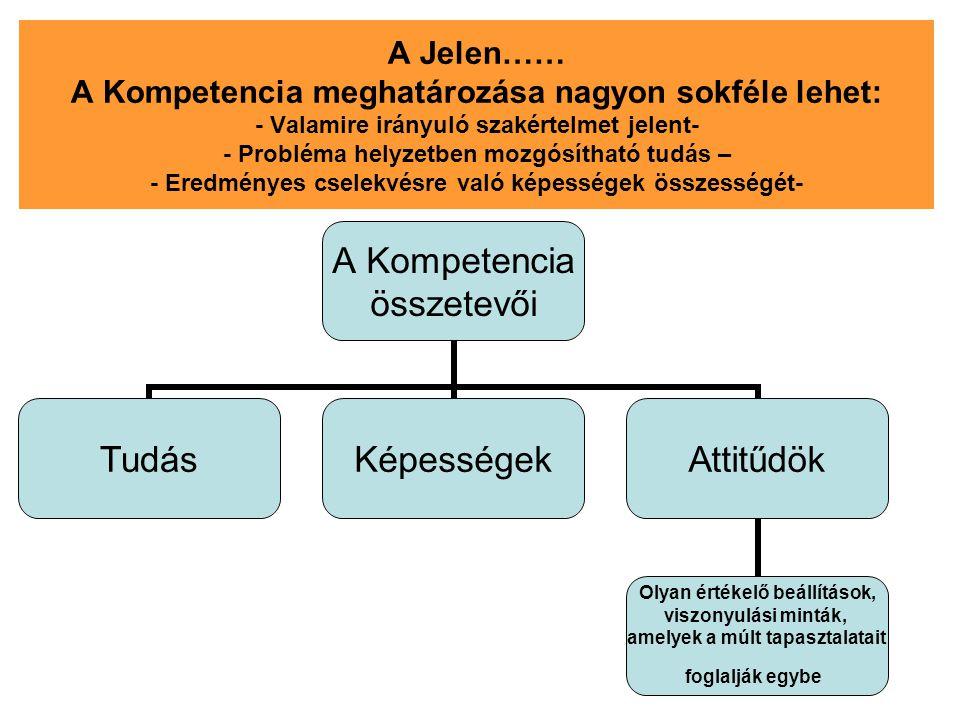 A Jelen…… A Kompetencia meghatározása nagyon sokféle lehet: - Valamire irányuló szakértelmet jelent- - Probléma helyzetben mozgósítható tudás – - Ered