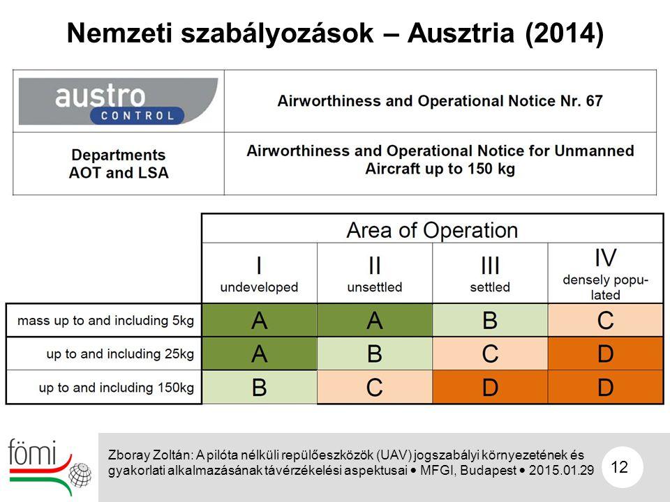 12 Nemzeti szabályozások – Ausztria (2014) Zboray Zoltán: A pilóta nélküli repülőeszközök (UAV) jogszabályi környezetének és gyakorlati alkalmazásának