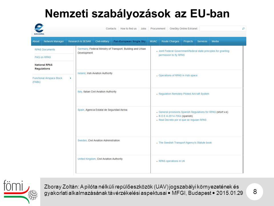 8 Nemzeti szabályozások az EU-ban Zboray Zoltán: A pilóta nélküli repülőeszközök (UAV) jogszabályi környezetének és gyakorlati alkalmazásának távérzék