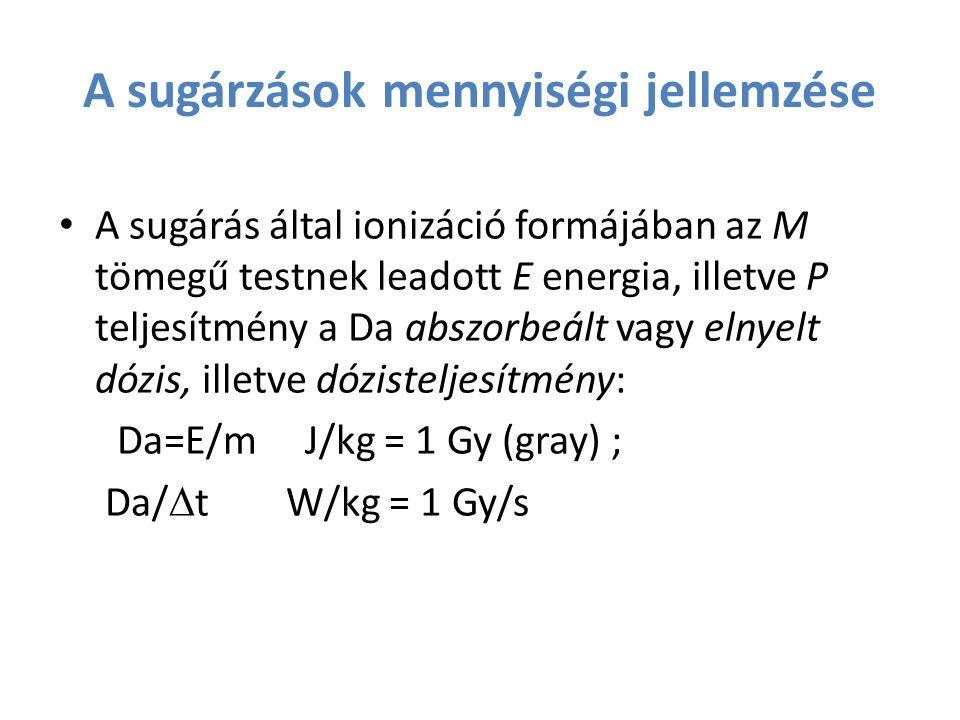 A sugárzások mennyiségi jellemzése A sugárás által ionizáció formájában az M tömegű testnek leadott E energia, illetve P teljesítmény a Da abszorbeált