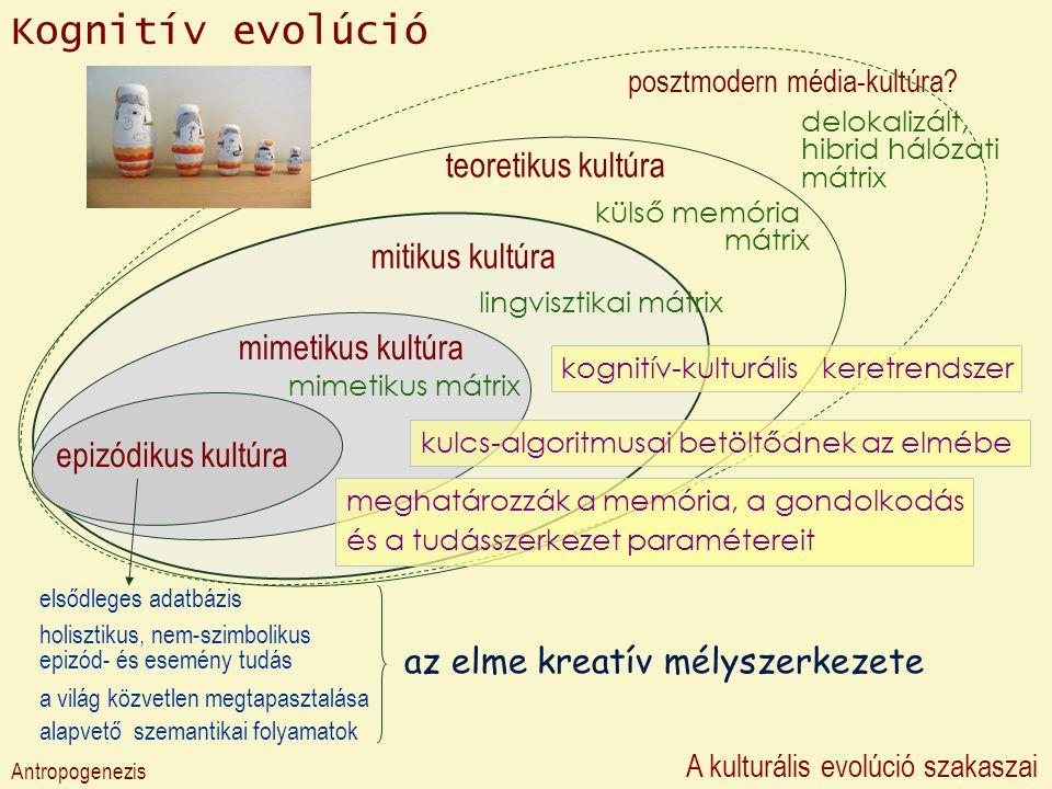 posztmodern média-kultúra? teoretikus kultúra mitikus kultúra mimetikus kultúra epizódikus kultúra Kognitív evolúció Antropogenezis A kulturális evolú