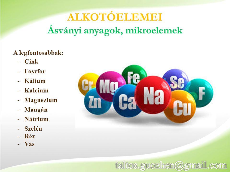 ALKOTÓELEMEI Ásványi anyagok, mikroelemek A legfontosabbak: -Cink -Foszfor -Kálium -Kalcium -Magnézium -Mangán -Nátrium -Szelén -Réz -Vas