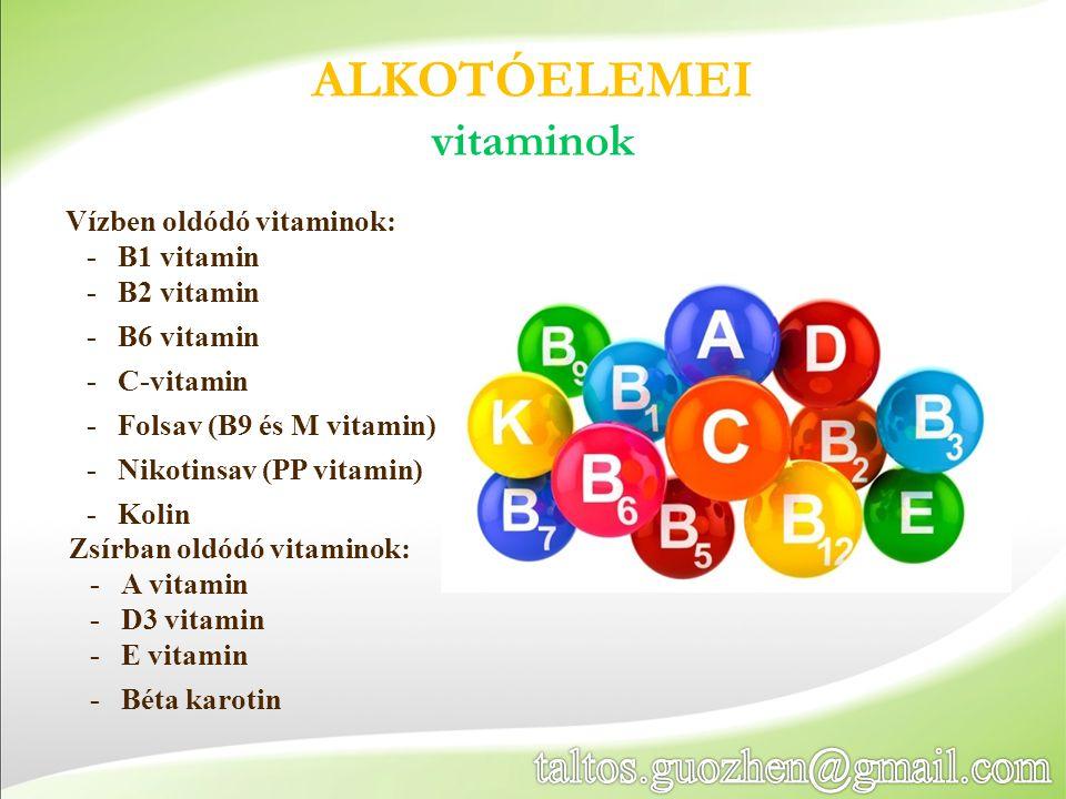 Vízben oldódó vitaminok: -B1 vitamin -B2 vitamin -B6 vitamin -C-vitamin -Folsav (B9 és M vitamin) -Nikotinsav (PP vitamin) -Kolin ALKOTÓELEMEI vitamin