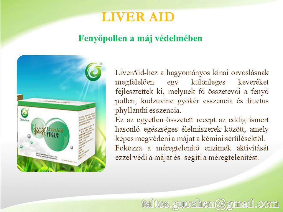 LIVER AID LiverAid-hez a hagyományos kínai orvoslásnak megfelelően egy különleges keveréket fejlesztettek ki, melynek fő összetevői a fenyő pollen, ku