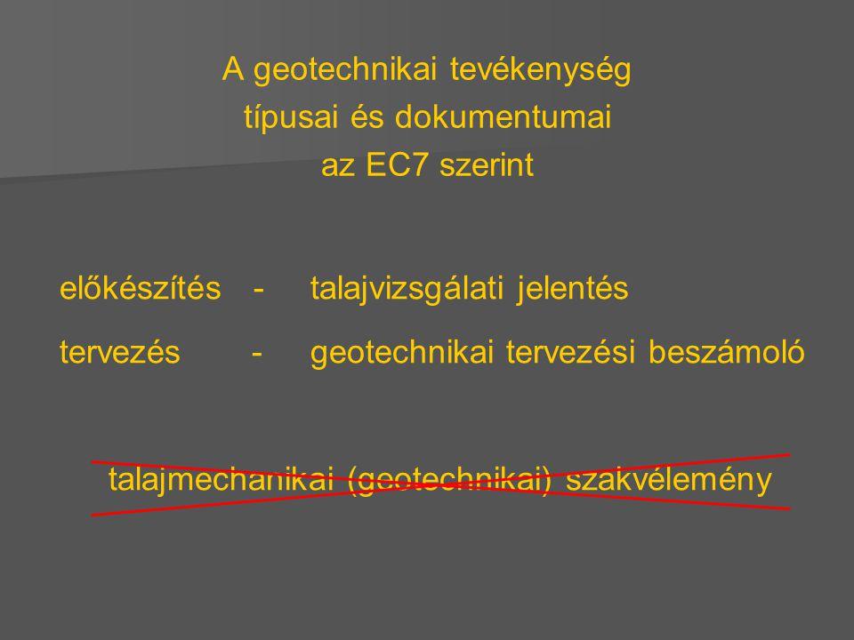 A geotechnikai tevékenység típusai és dokumentumai az EC7 szerint előkészítés - talajvizsgálati jelentés tervezés- geotechnikai tervezési beszámoló ta