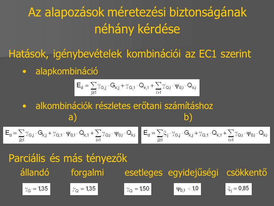 Az alapozások méretezési biztonságának néhány kérdése Hatások, igénybevételek kombinációi az EC1 szerint alapkombináció alkombinációk részletes erőtan