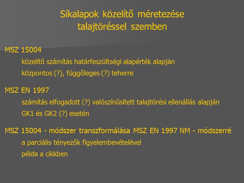 Síkalapok közelítő méretezése talajtöréssel szemben MSZ 15004 közelítő számítás határfeszültségi alapérték alapján központos (?), függőleges (?) teher