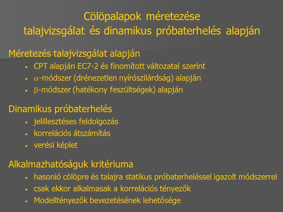 Cölöpalapok méretezése talajvizsgálat és dinamikus próbaterhelés alapján Méretezés talajvizsgálat alapján CPT alapján EC7-2 és finomított változatai s