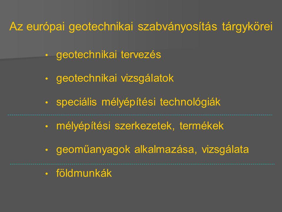 Az európai geotechnikai szabványosítás tárgykörei geotechnikai tervezés geotechnikai vizsgálatok speciális mélyépítési technológiák mélyépítési szerke