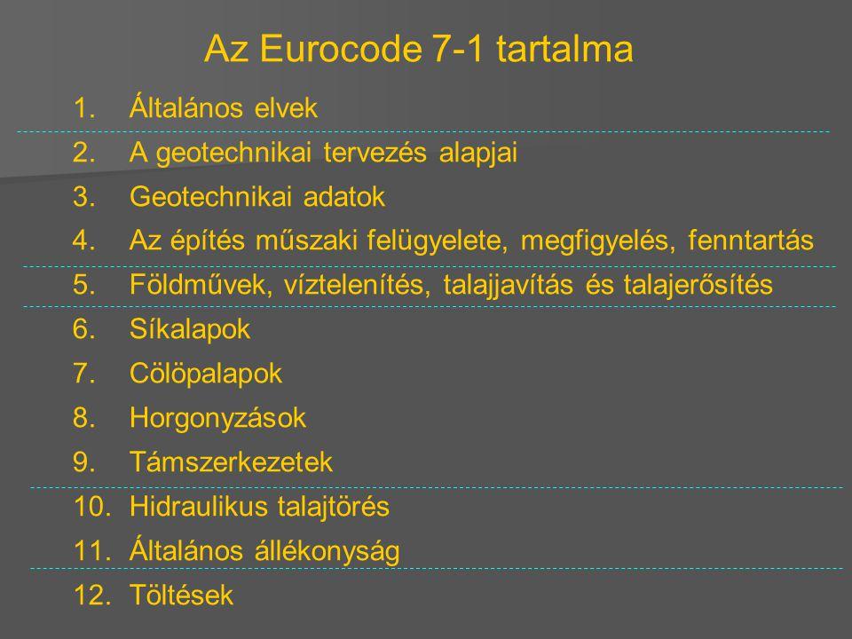 Az Eurocode 7-1 tartalma 1. Általános elvek 2. A geotechnikai tervezés alapjai 3. Geotechnikai adatok 4. Az építés műszaki felügyelete, megfigyelés, f