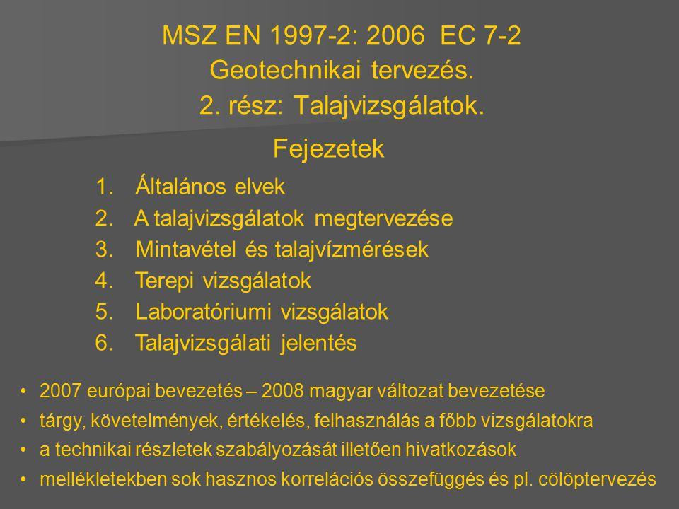 MSZ EN 1997-2: 2006 EC 7-2 Geotechnikai tervezés. 2. rész: Talajvizsgálatok. Fejezetek 1. Általános elvek 2. A talajvizsgálatok megtervezése 3. Mintav