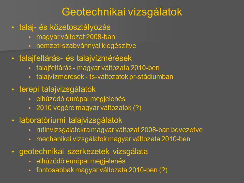 Geotechnikai vizsgálatok talaj- és kőzetosztályozás magyar változat 2008-ban nemzeti szabvánnyal kiegészítve talajfeltárás- és talajvízmérések talajfe