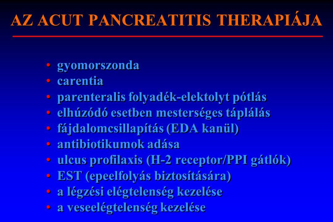 AZ ACUT PANCREATITIS THERAPIÁJA gyomorszonda carentia parenteralis folyadék-elektolyt pótlás elhúzódó esetben mesterséges táplálás fájdalomcsillapítás